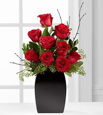 The FTD® Contemporary™ Rose Bouquet - VASE INCLUDED- Deluxe