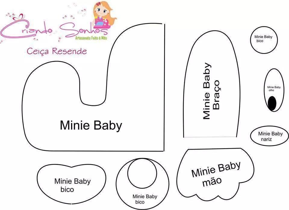 MICKEY BABY | FELTRO/MOLDES/ ARTESÃS INCRÍVEIS/INSPIRE-SE | Pinterest