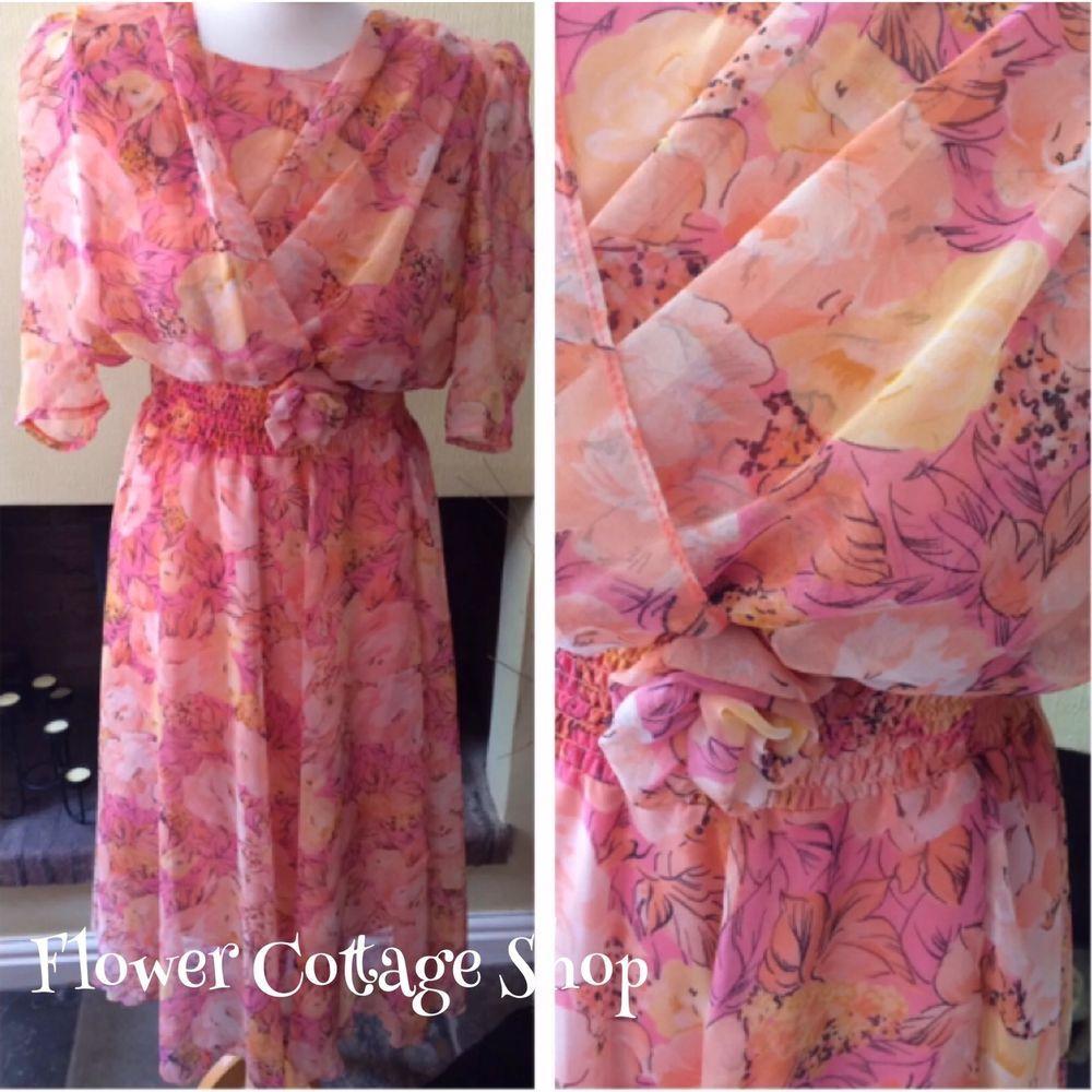 Vintage 80s does 40s Dreamy Floaty Chiffon Peach Floral S/Slv Tea ...