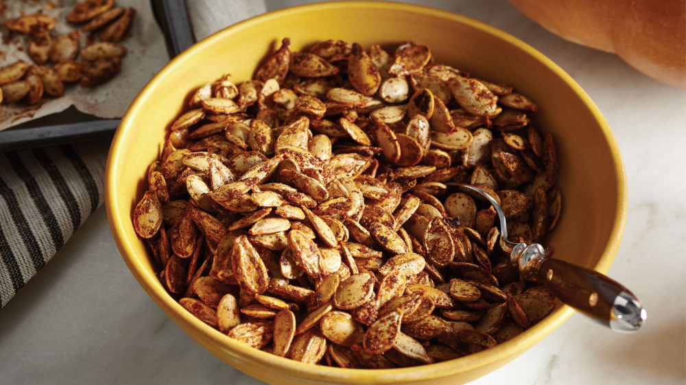 From your spooky Jack-o'-lantern to your snack bowl, its finally time to use those pumpkin seeds. Our Salty-Sweet Roasted Pumpkin Seeds is a new take on the classic oven roasted pumpkin seeds. Try it this Halloween. #roastingpumpkinseeds