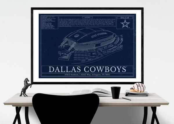 Dallas Cowboys AT\T Stadium Blueprint Wall art Gift Football Gifts - best of blueprint party dallas
