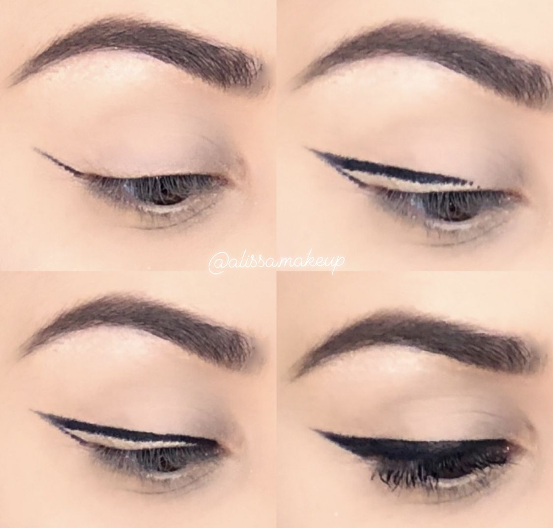 Delineador de gatinho 🖤 Winged Eyeliner   Dicas de maquilhagem ...