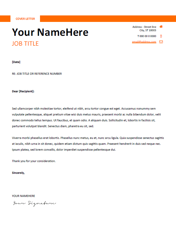 Free clean and simple cover letter template for Word (DOCX) - Orange ...