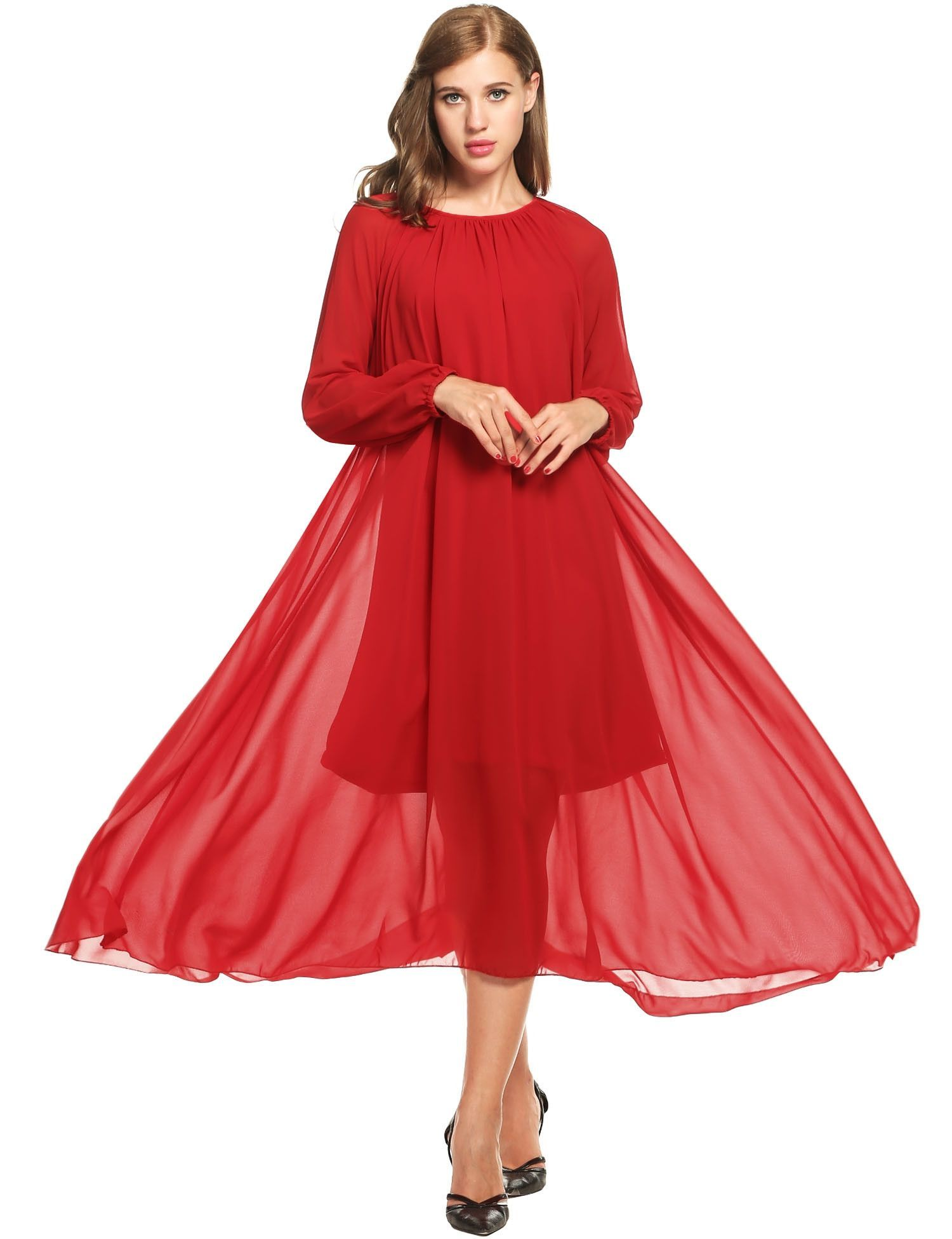Red women long sleeve solid o neck pullover chiffon maxi with belt