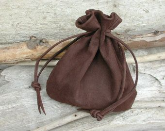 Men's Bag Leather Drawstring Pouch Bag - Brown Nubuck Leather ...