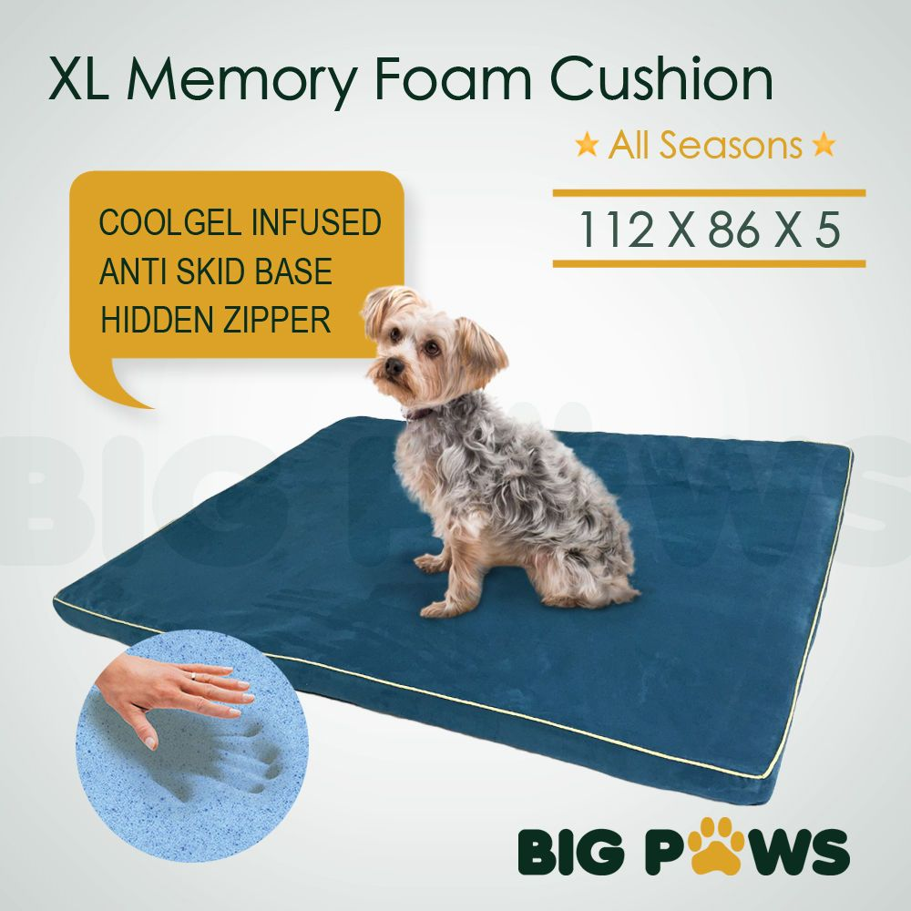 Big Paws Pet Bed Mattress Cool Gel Memory Foam Dog Cat Mat Cushion Extra Large Big Dog Beds Cat Mat Puppy Mats
