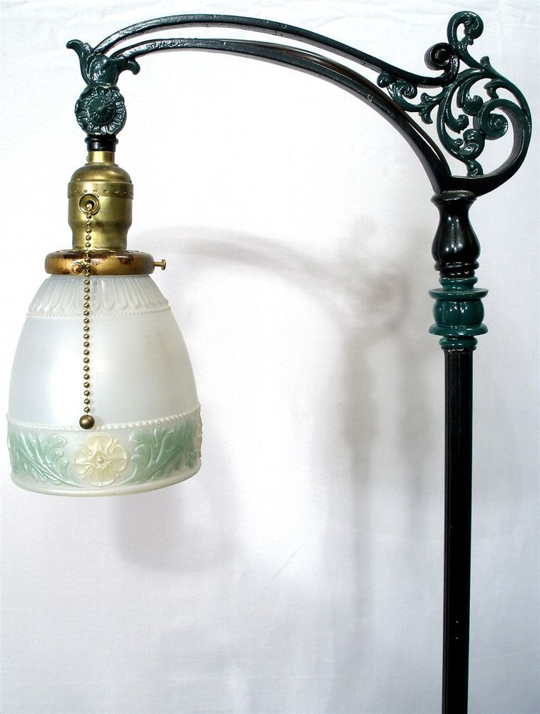 Antique Marble Art Nouveau Bridge Floor Lamp Light Reverse Painted