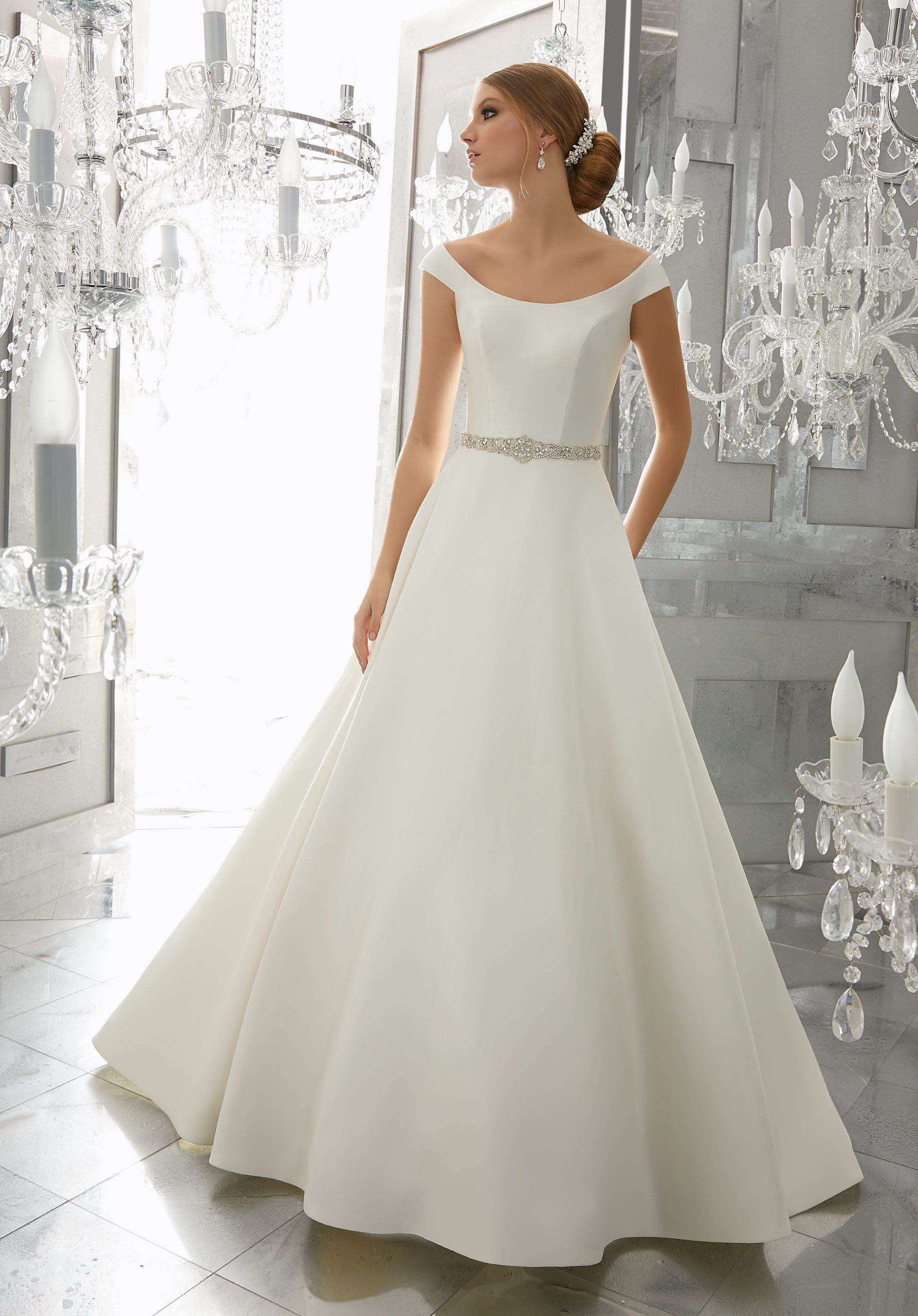 ae5727308c37 Classic and Chic, This Marcella Satin A-Line Wedding Dress Features an  Elegant Off-the Shoulder Neckline and Removable Diamanté Beaded Belt.
