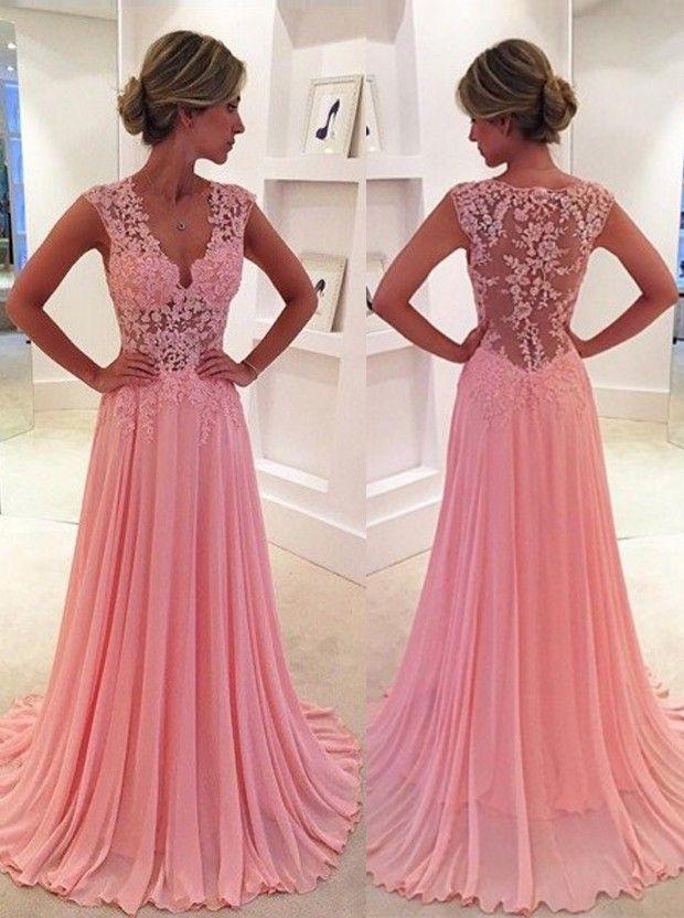 Buy Classic A-Line V-Neck Floor Length Pink Prom Dress/Evening Dress ...