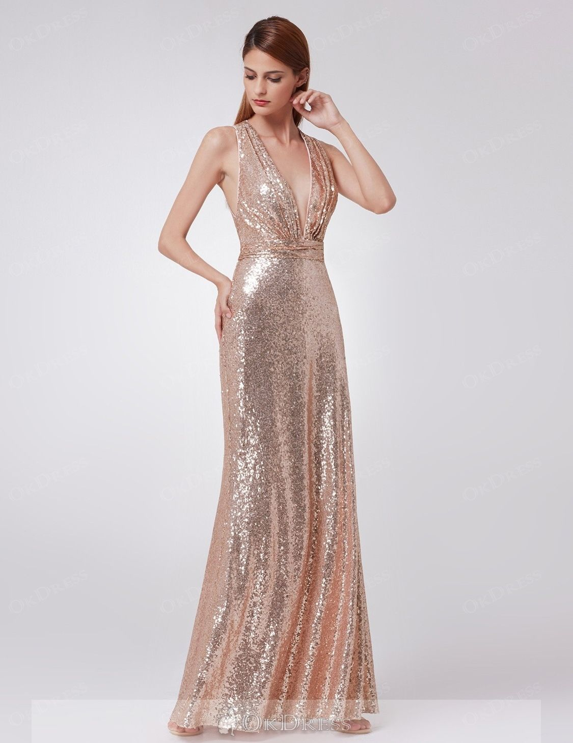 Sexy trumpet mermaid sleeveless deep vneck sequined long prom
