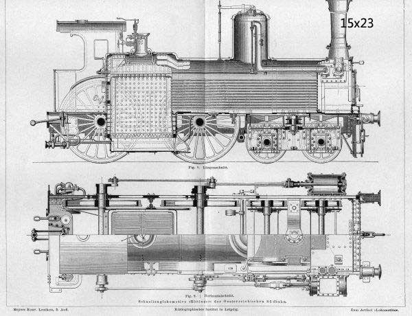 Vintage Train Locomotive Railroad Steam Blueprint Print 17x22 Poster - new blueprint background image