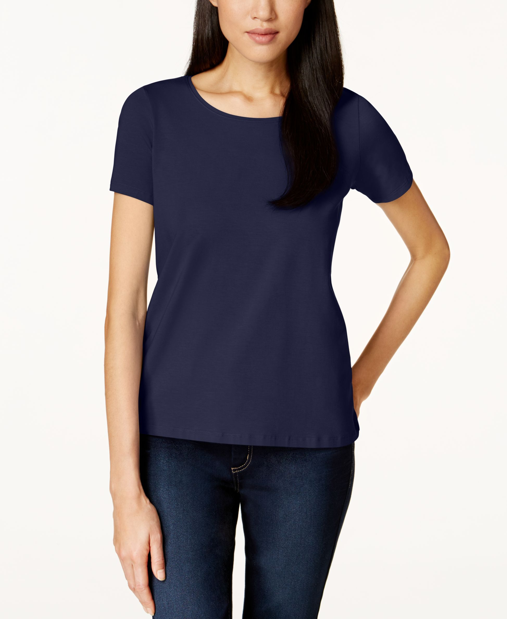 Eileen Fisher Short-Sleeve Scoop-Neck Top, Only at Macy's