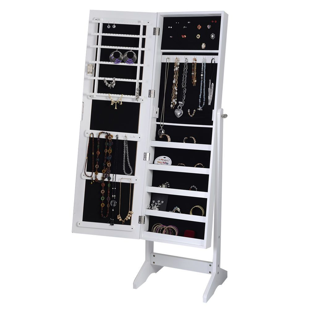 Details about White Mirrored Jewelry Cabinet Armoire Mirror ...