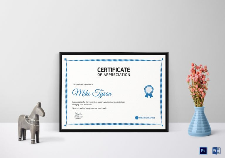 Certificate Of Appreciation Template For Word Alluring Table Tennis Appreciation Certificate Template $9.99 Formats .