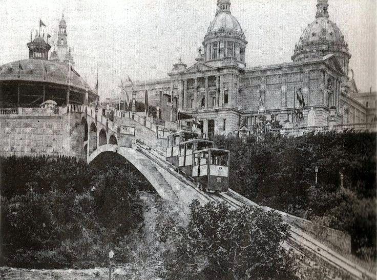 Fotografia antigua de Montjuïc Barcelona 1929. en blanco y negro ...