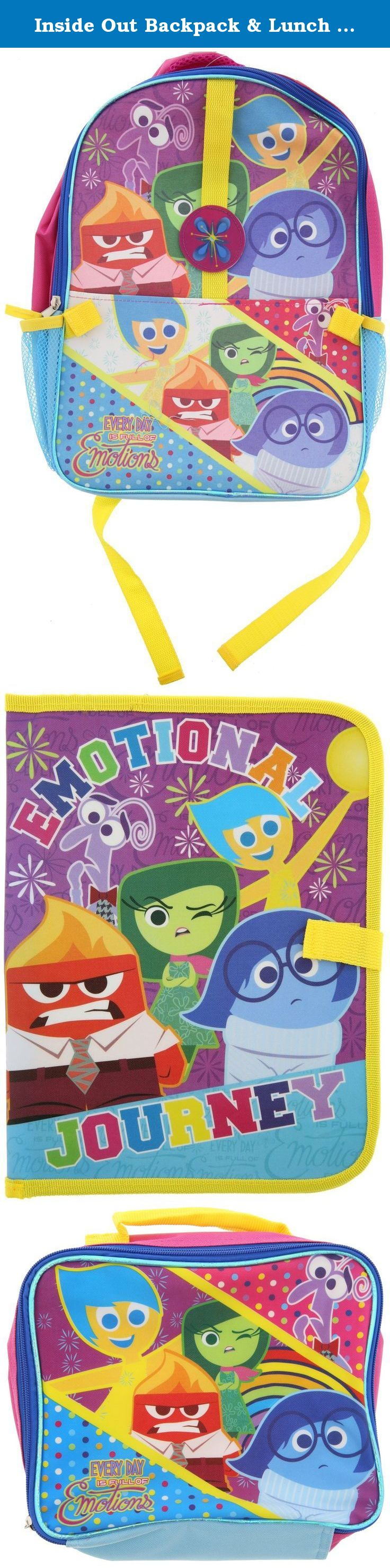 """Inside Out Backpack & Lunch Box Riley, Joy, Sadness, Anger, Fear and Disgust. Comes in 3 Pieces: Backpack, Lunch Bag and Folder. Backpack measures approximately 15""""H x 11.25""""W x 3.5""""D. Backpack: One zippered main compartment, One Front Pocket with Velcro Strap for the """"Bonus Folder"""" and Two Sided Mesh Pockets. Insulated Lunch Bag measures approximately 9""""W x 7""""H x 3""""W. Folder measures approximately 13""""H x 10""""W."""