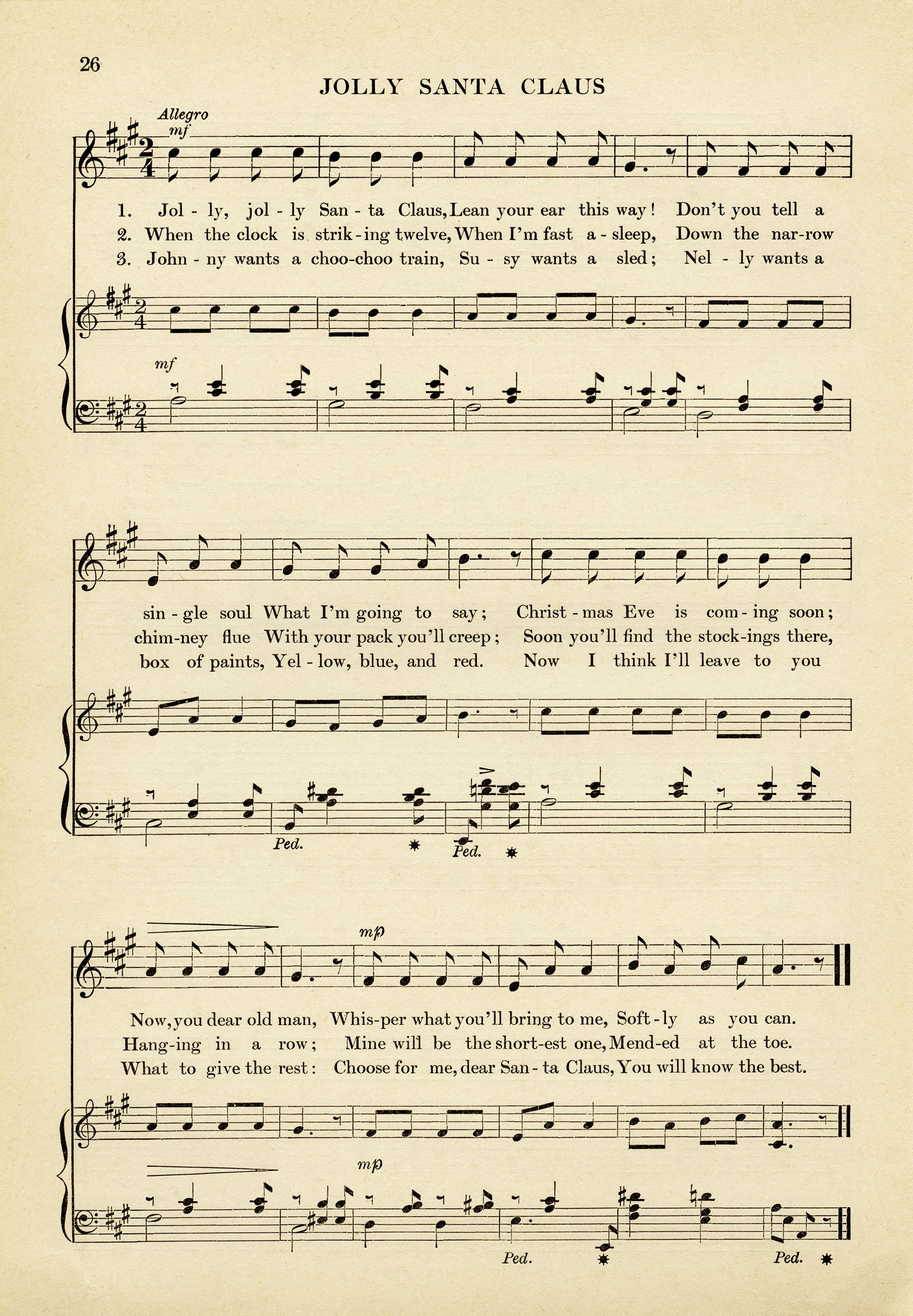 vintage sheet music, jolly santa claus song, old fashioned christmas ...