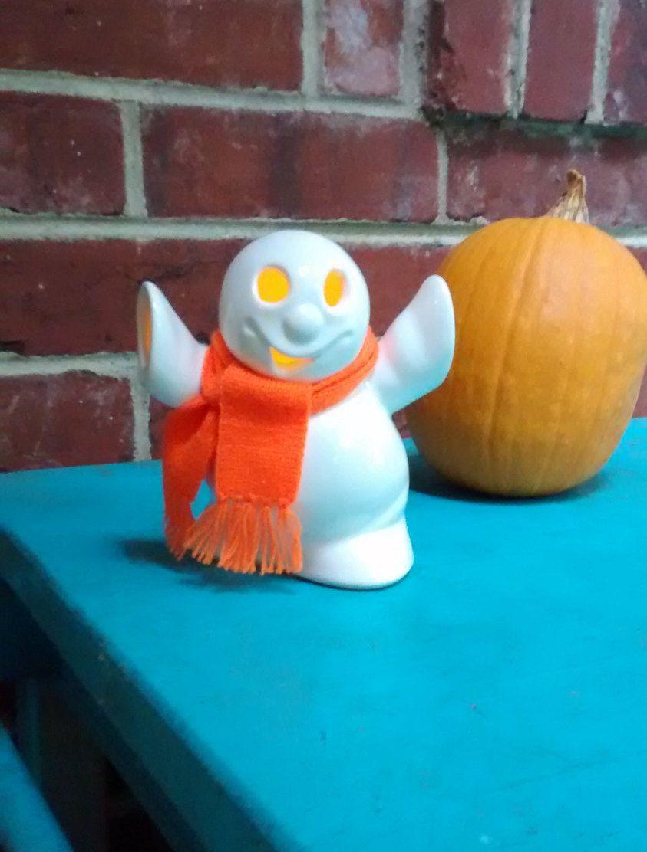 Ceramic Ghost Halloween Decor Vintage Orange Scarf Candle Light By HappyVintageStudio On Etsy