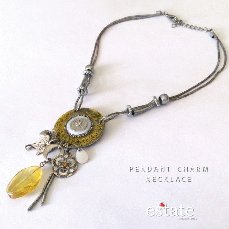 Trying to think of happy, summery warm thoughts with this yellow pendant charm necklace! https://estate-west-grand.myshopify.com/products/pendant-charm-necklace  #Necklace #Yellow #Summer