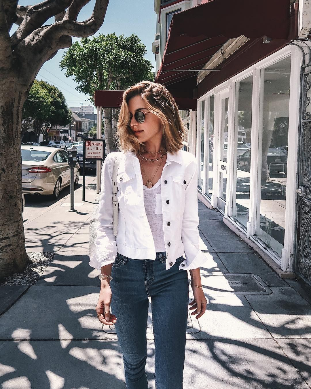 20 Amazing White Denim Outfits Ideas For Womens Denim Jacket Women White Denim Outfit White Jacket Outfit [ 1350 x 1080 Pixel ]
