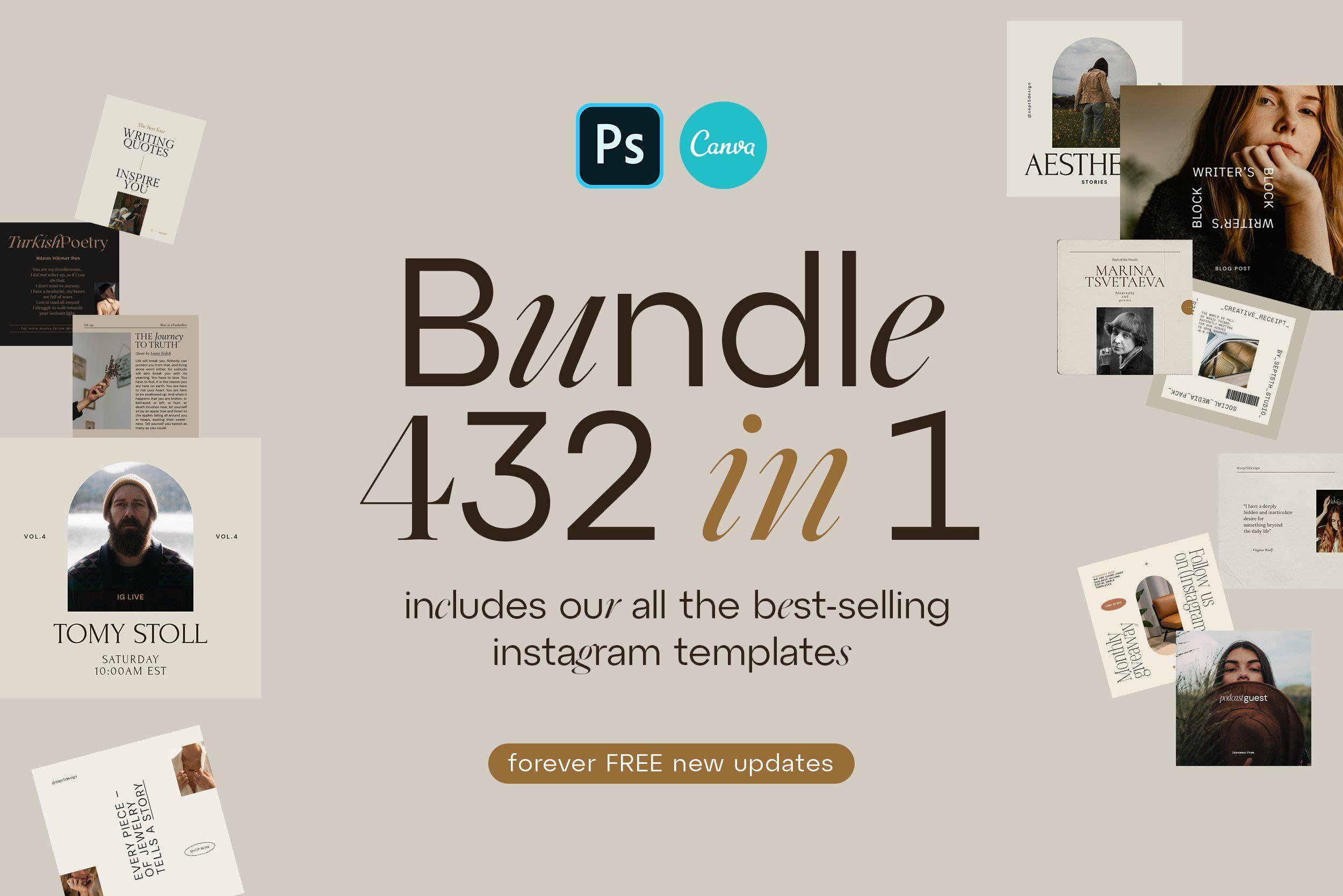 Instagram Bundle Canva Ps In 2021 Instagram Template Book Cover Design Template Book Cover Template