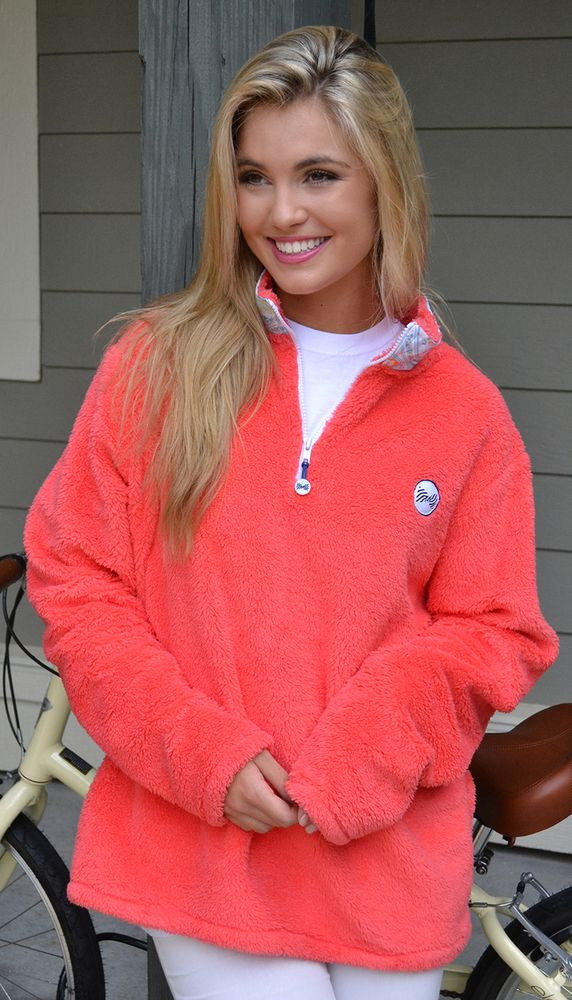 Fraternity Collection - Coral Sherpa Fleece Quarter Zip, $78.00 (http://fraternitycollection.com/coral-sherpa-fleece-quarter-zip/)