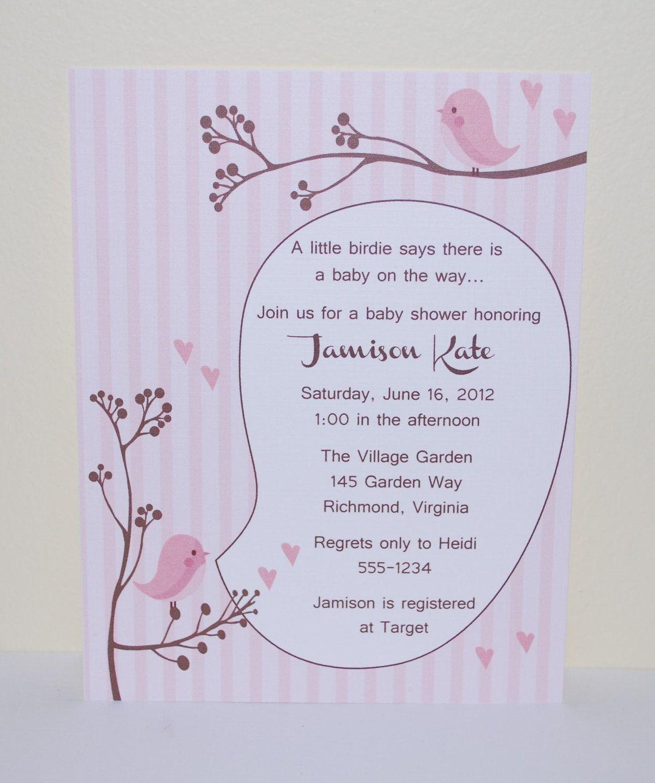 Bird baby shower invitation A little by SimplyStampedInvites. $15.00 ...