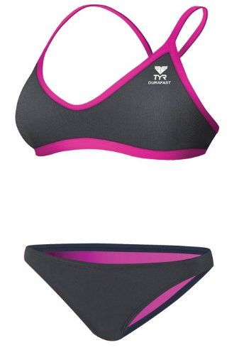 5892bdd2dcd9a Black Friday TYR SPORT Women s Durafast Lite Solid Brites Crosscutfit  Workout Bikini (Grey Pink