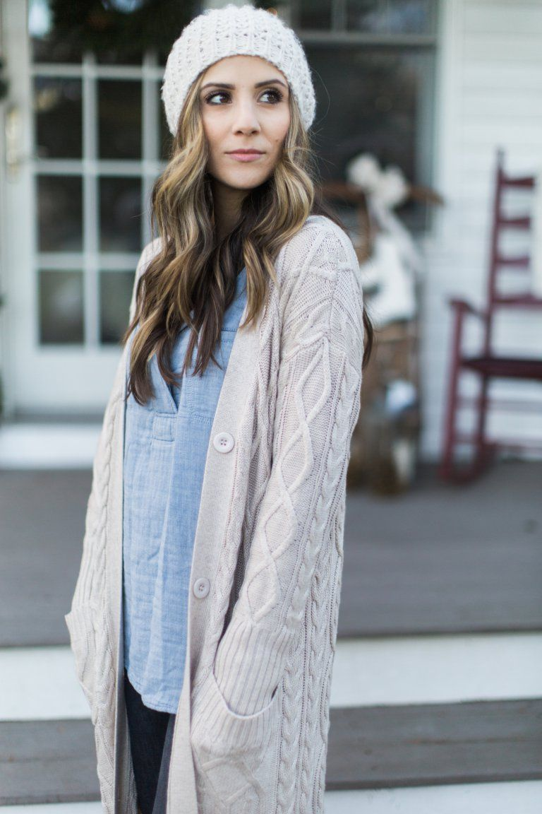Style // Cozy Maxi Cardigan | Maxi cardigan, Chambray top and Cozy ...