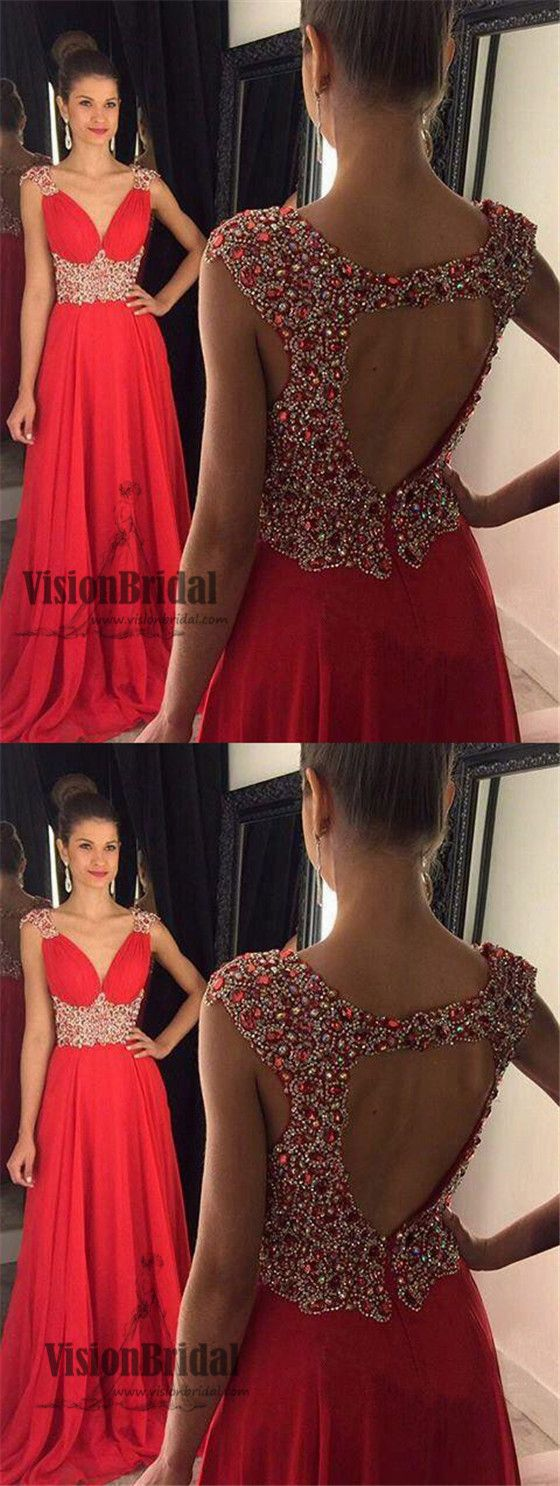 Elegant red vneck open back with rhinestones aline chiffon prom