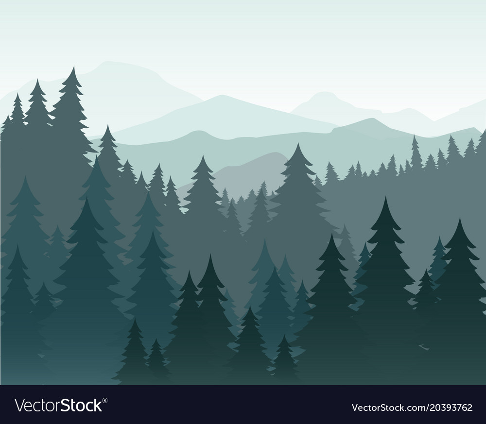 Pine Forest And Mountains Vector Image On Mountain Illustration
