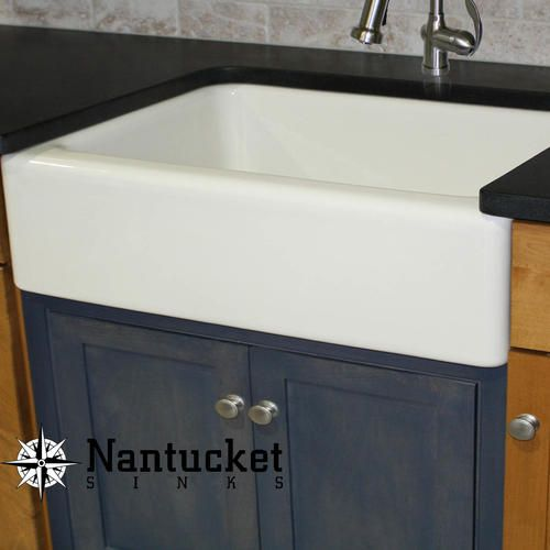 Nantucket Sinks 30 Inch White Fireclay Farmer Sink Offset Drain
