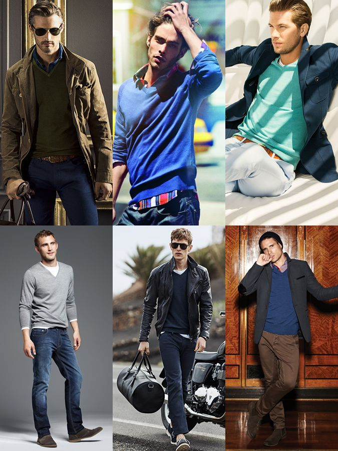 Men's Casual V-Neck Jumper Styling - Outfit Inspiration Lookbook ...
