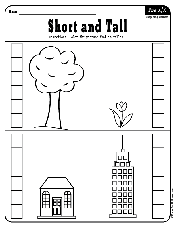 Short And Tall Worksheets For Preschool For Early Math And Reading Math Activities Preschool Kindergarten Math Worksheets Preschool Worksheets Free Printables
