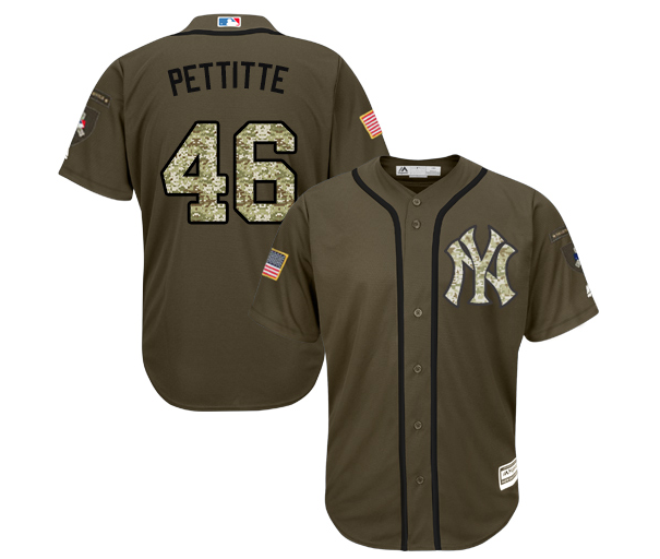 d6344ac0 Men's Majestic New York Yankees #46 Andy Pettitte Authentic Green Salute to  Service MLB Jersey