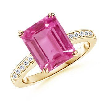 Angara Cocktail Ring with Emerald-Cut Amethyst in Yellow Gold bKHBGH0