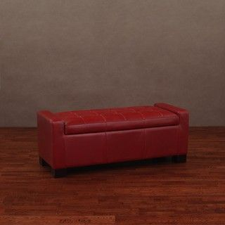 Contemporary Style And Function Make The Burnt Red Tufted Leather Storage Bench A