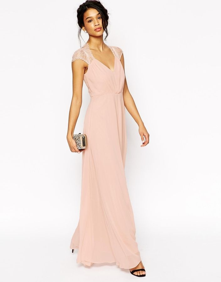 long bridesmaid dress in blush with cap sleeves | ASOS COLLECTION ...