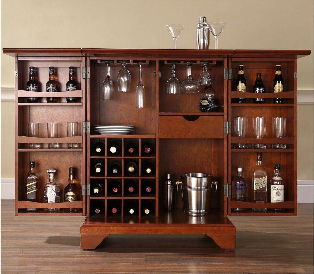 Cherry Bar Cabinet Wine Bar Cabinet Storage Liquor Home Rack Furniture Counter Shelf