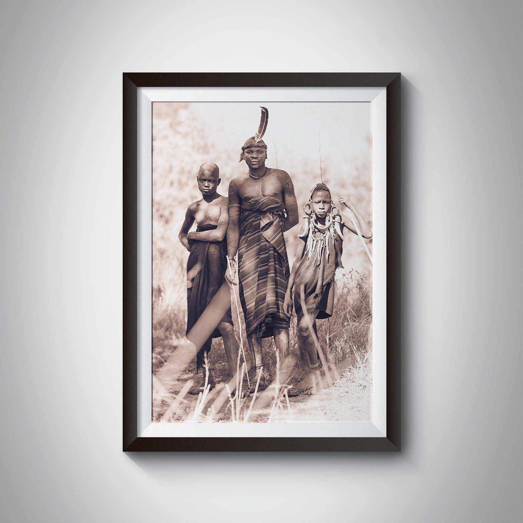 African brothers portrait wall art mursi tribe africa canvas ethiopia omo valley black