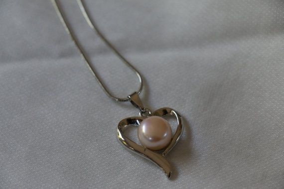 Lovely Vintage Heart and Freshwater Pearl Silver by GrammaCsCloset