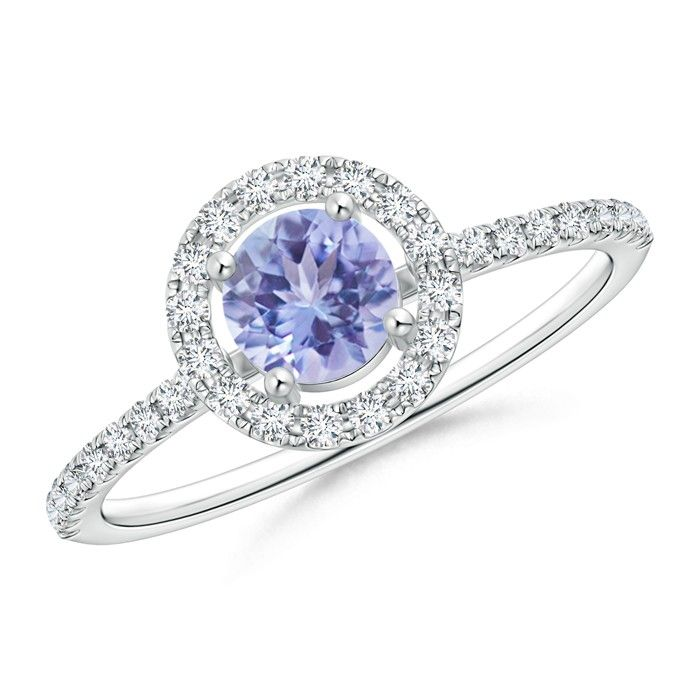 Angara Round Tanzanite Halo Ring with Diamond Accent in Yellow Gold peglLm