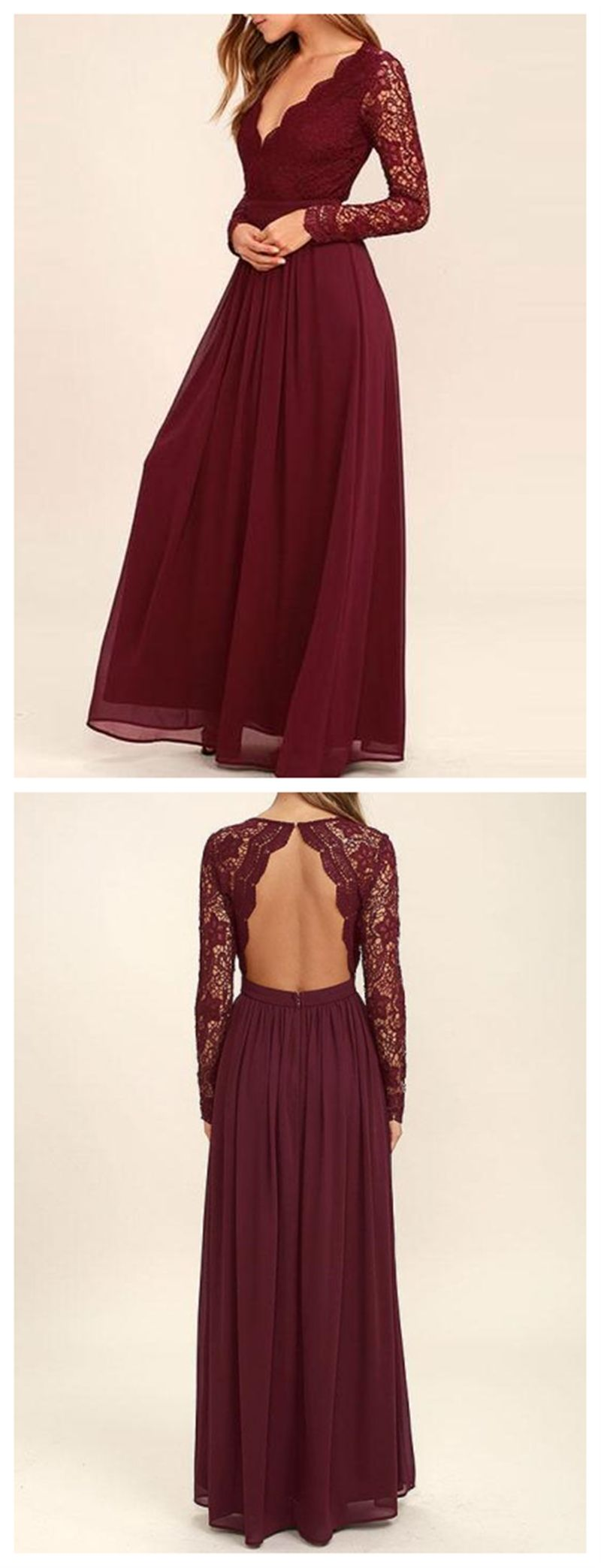 Dark red long sleeve lace long bridesmaid dresses cheap chiffon