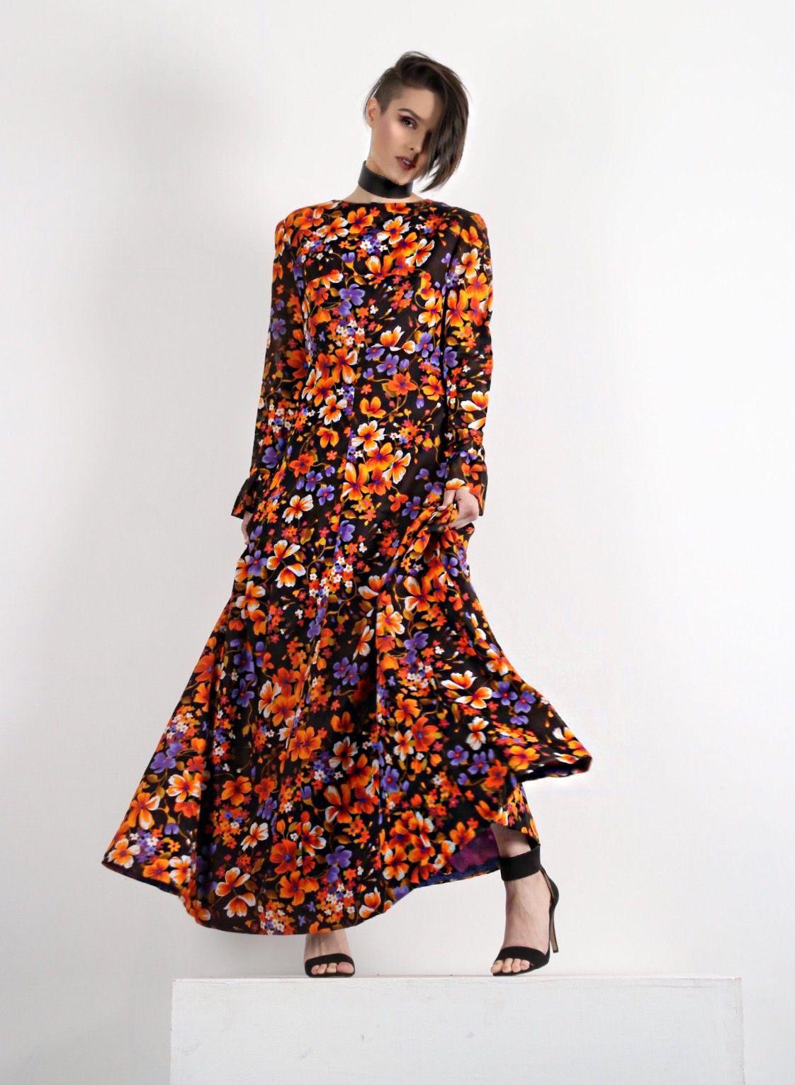 03f2ee0992e Petite maxi dress - fit and flare dress - Stevie Nicks - Stevie Nicks Dress  - flowy dress - floral dress - shop vintage clothing - 70s dress - 60s dress  ...