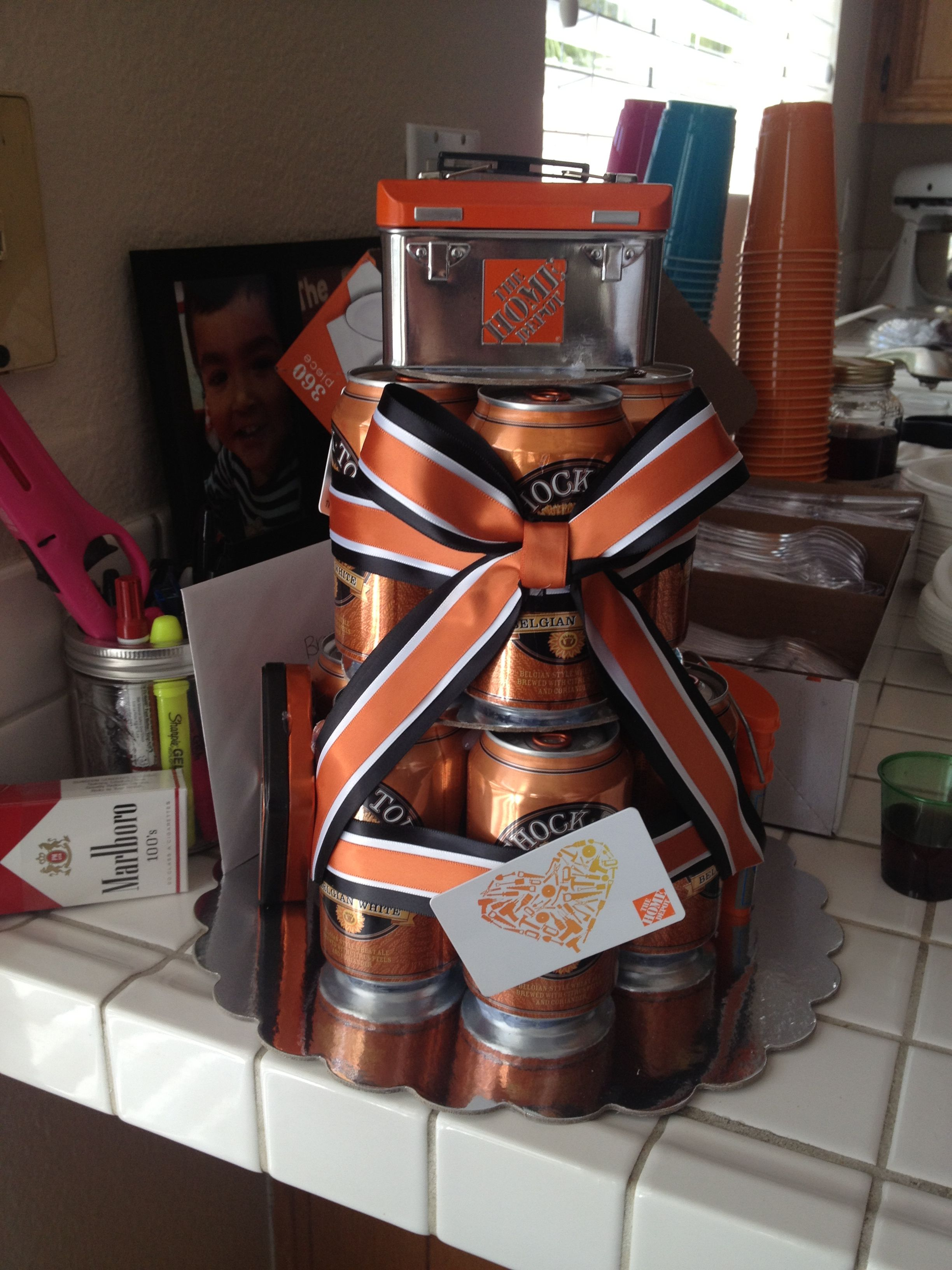 Beer cake with home depot card for a guy great birthday