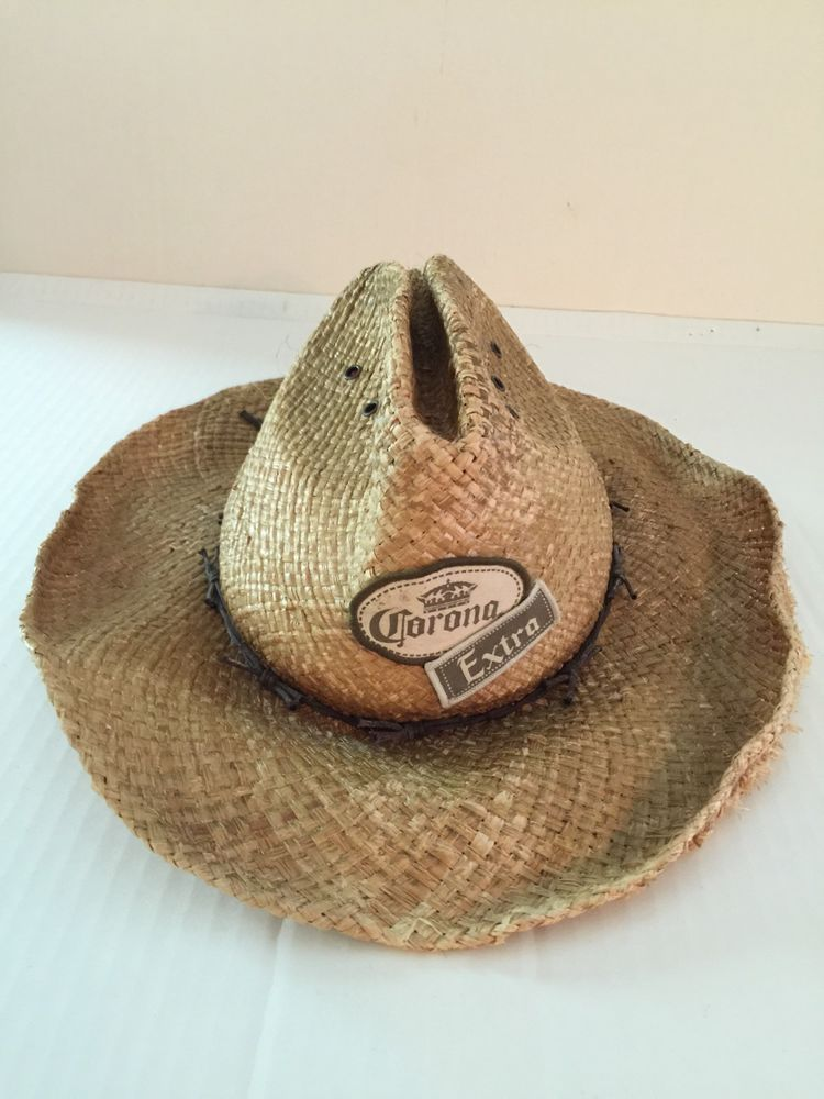 96db97a7f5b Corona Extra Beer Logo Straw Hat Bobwire Band Lifeguard Distressed Style  Bar Dis