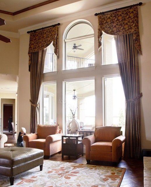 Traditional Greatroom Drapery Window Treatments Living Room Living Room Windows Traditional Family Rooms #pictures #of #living #room #window #treatments