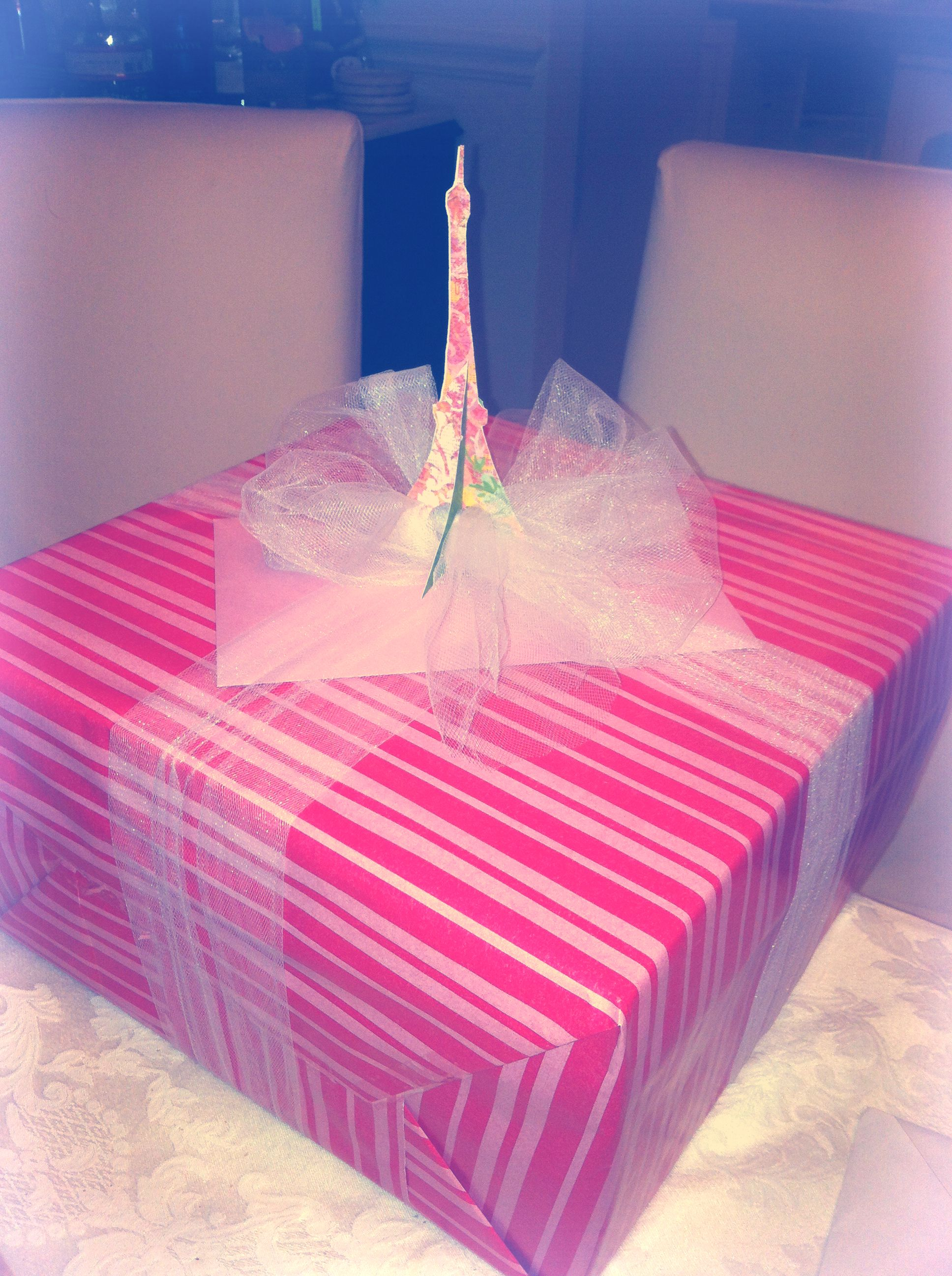 Paris themed gift wrap. Paper Eiffel Tower with tulle