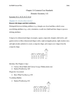 Go Math First Grade Lesson Plans Chapter 11 Pinterest Math