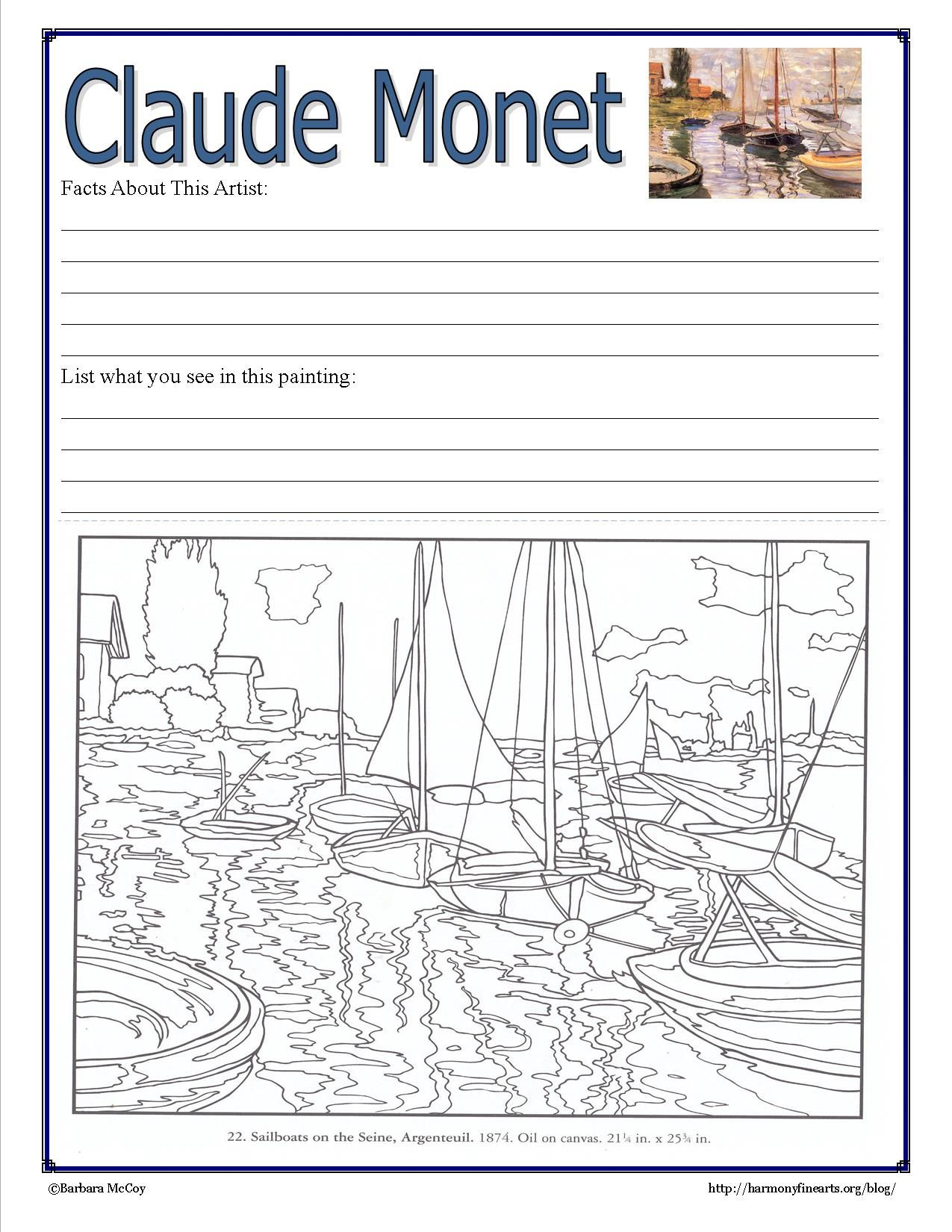 monet notebook page intimate impressionism coloring pages